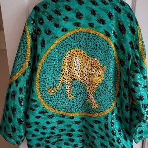 Panther Jacket-Gold,Green, and Black Velvet Trim